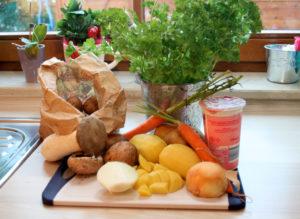 Kartoffelcremesuppe mit Pilzen