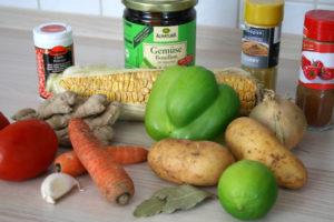 Maiskolben mit Gemüseallerlei