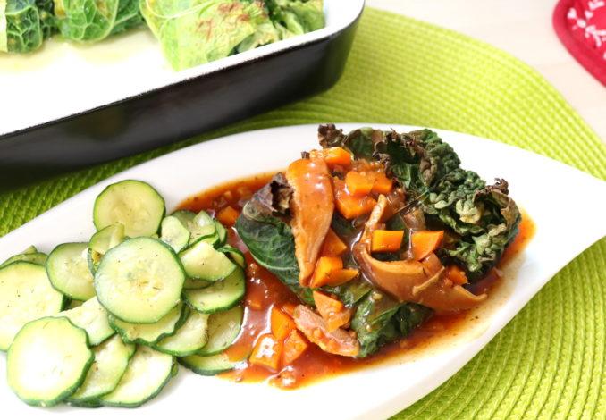 Kohlrouladen mit Kürbis-Tofu-Füllung